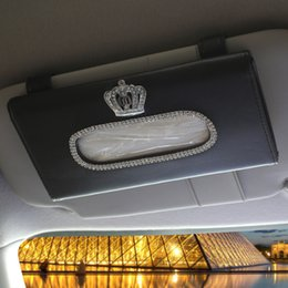 Crystal Box For Case Australia - bag auto Crown Crystal Car Tissue Box Sun Visor PU Leather Auto Tissue Bag Sunvisor Hanging Holder Case Napkin For Car Accessories