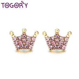 Magic Plates Australia - TOGORY High Quality Authentic Real Silver Plated Magic Crown Clear CZ Fine Stud Earring Women Wedding Jewelry Femme Brincos