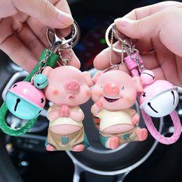 Keys Bell Australia - Cute cartoon doll BB called little pig key ring car key chain ring ring bell bag pendant gift