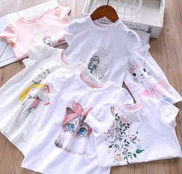Discount fashion cat cartoon - Kids colorful floral T-shirts girls cartoon Bows cat love heart letter printed casual tops children round collar short s