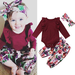 long tops for girls NZ - 3Pcs Spring Autumn Clothes For Girls Princess Newborn Baby Girls Long Sleeve Ruffles Tops Romper Floral Printed Pants Headband