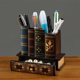 $enCountryForm.capitalKeyWord Australia - Multifunction Retro Wooden Pen Holder Book Shape Wood Craft Home Decor Pencil Desktop Storage Box Drawers Stationery Holder