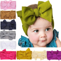 Wholesale 2019 New Large Baby Bow Girls Headband Big Bowknot Headwrap Kids Bow for Hair Cotton Wide Head Turban Infant Newborn Headbands