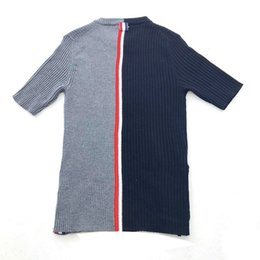 Wholesale Women s Sweater Round Collar Short Sleeves Behind Red White and Blue Stripes Stylish Slimming T Knitted Clothes Bottom Shirt