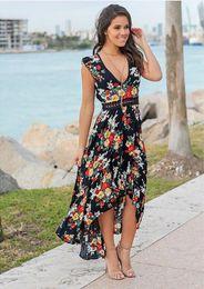 $enCountryForm.capitalKeyWord Australia - Europe and the United States new women's sleeveless lace stitching V-neck print high waist famous design fashion casual brand dovetail dress