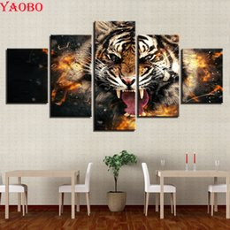 painting puzzles Australia - 5d diy diamond painting accessoires,5 pcs Roaring Tiger Animal,full square mosaic puzzle picture of rhinestones embroidery beads