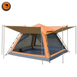 clear outdoor tents NZ - DESERT CAMEL Outdoor Camping Tourist Tent 4 People Double Layer Waterproof Four Doors Automatic Family Party Beach Gazebo Tent