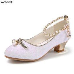 Großhandel Weoneit Prinzessin Kinder Lederschuhe für Mädchen Pailletten Kinder High Heel Mädchen Schuhe Perlen Knoten Rosa Weiß Party