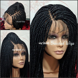 Front lace wigs small online shopping - Free Part Box Braids Wig black brown blonde red brazilian full lace front Wig Jumbo braids synthetic wig Baby Hair Heat Resistant