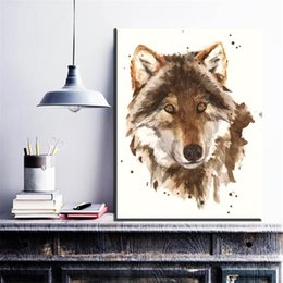 $enCountryForm.capitalKeyWord Australia - 1 Piece Watercolor Canvas Prints Art Modern Abstract Wolf Animal Oil Art Painting On Canvas For Living Room Bedroom No Framed
