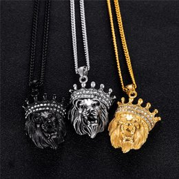 $enCountryForm.capitalKeyWord Australia - Cool Crown Jewelry Necklace Lion face For Man Stainless Steel Link Chain Luxury Cubic Zirconia Mans Pendant Necklaces gjGX1379