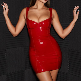 Red Leather Dresses Australia - MisDream Sexy PU Leather Dress Women Spring 2019 Bustier V Neck Sleeveless Pencil Red Dress Black Party Bodycon Preorder