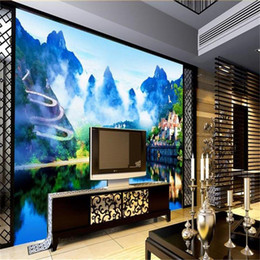 3d wall sticker water 2019 - custom size 3d photo wallpaper living room mural green hills green water nature 3d picture sofa TV backdrop wallpaper no