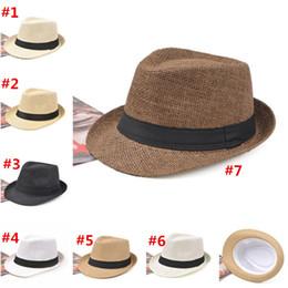 Stingy Brim Trilby Australia - 7 Colors Fashion Unisex Hat Men Women Summer Sun Beach Grass Braid Fedora Trilby Wide Brim Straw Cap Panama 50Pcs