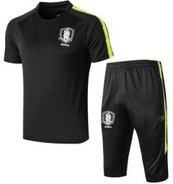 Korea suit man online shopping - Korea psg man utd training suit soccer short sleeve pants Summer Paris RONALDO MESSI football shirt tracksuit