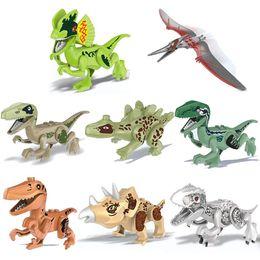 Jurassic World Dinosaur Building Australia - Jurassic Dinosaur Bricks Figure Animal Wild World T-Rex Echo Pterosauria Triceratop Indomirus Rex Building Block Toy for Boys
