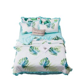 Pink Flower Bedding Sets UK - High-quality fashion cotton bedding summer is four sets of air conditioning summer cool single summer is flower pattern pink four-piece