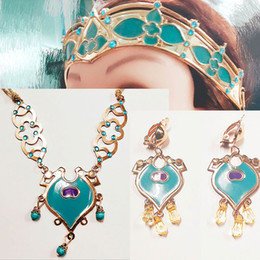 Cosplay earrings online shopping - Halloween Girl Princess Jewelry Headdress Sets a pair Earrings Necklace Crown sets Kids Stage Loaded Props Cosplay Accessories M351