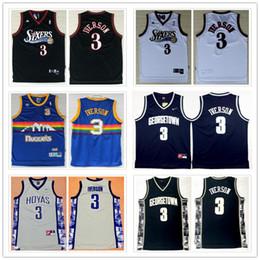2019 nbspAdidas # 3 Philadelphia 76ers Jerseys de baloncesto Allen Iverson Georgetown Hoyas Jerseys Ncaa maillot nbspturnback talla S-XXL en venta