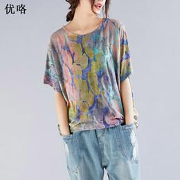 Plus Size Batwing Printed Shirt Australia - 2019 Summer Fashion Cotton T Shirt Women Vintage Printed Tshirt Batting Sleeve Large Size Loose T Shirt Femme Plus Size 4xl 5xl Y19060601