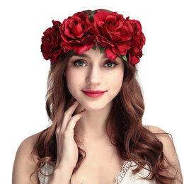 Discount white roses flower crown - Wedding Flower Crown Head Band Women Wedding Floral Head Wreath Bridesmaid Bridal Headpiece Carnival Party Female Headwe