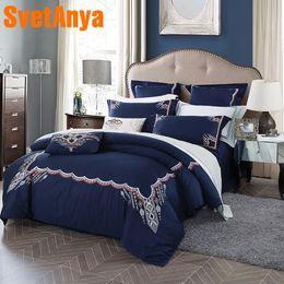 $enCountryForm.capitalKeyWord Australia - Svetanya embroidered Bedding Sets egyptian Cotton Bed Linens Queen Double King size (flat sheet + Pillowcase +Blanket Cover)