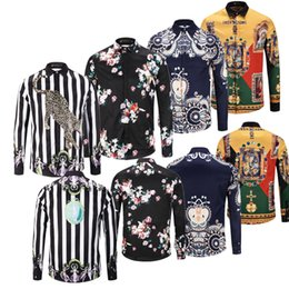Bamboo Mens Shirt Australia - 2019 New Luxury Designer Mens Long sleeve Brand Printed Shirt 3D Floral prints long sleeve Long Sleeve Medusa Casual Shirts