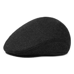 3614cc9af61 Men Retro Beret Caps Winter Warm Wool Hats With Ear Flap Male Baret Flat Cap  Solid Black Gray Windproof Classic Dad Hat Boina