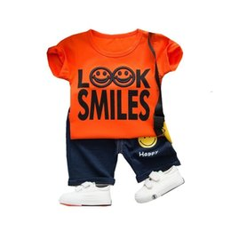 3229ac0385580 Summer Children Baby Boys Girls Clothes Fashion Smiley Face Shirt Pants 2  Stks Set Kid Toddler Tracksuits Sport Clothing