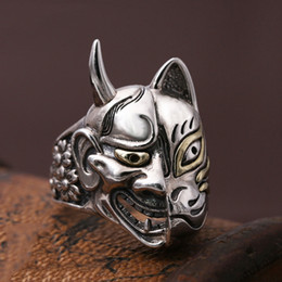 $enCountryForm.capitalKeyWord Australia - Retro Hundred Ghost Night Line 925 Sterling Silver Double-sided Personality Skull Ring Japanese Prajna Mask Ring Personalized Men's Punk Jew