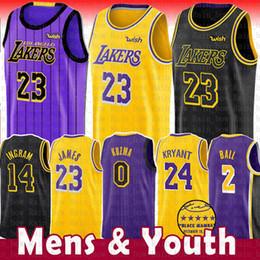 23 LeBron James Lakers Jersey 0 Kyle Kuzma Masculino Juventude 2019 Los Angeles James Lakers 2 Bola Lonzo 14 Brandon Ingram 24 Kobe Bryant A Cidade 19
