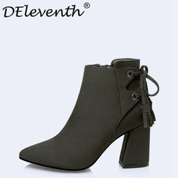 China DEleventh Women Shoes 2017 High Heels Ankle Boots Short Plush Fringe Pointed Toe Matin Boots Fashion Sexy Winter Heels 39 supplier high heel red sexy women shoes suppliers