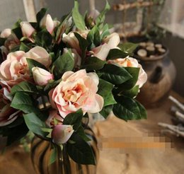 Wholesale Fake Flowers Shipped Free Australia - Hot Selling 4 Colors Beautiful Artificial Gardenia Bouquet Silk Fake Flowers Home Decor For Wedding Decorations Free Shipping