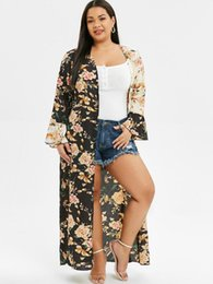 Wholesale ROSE GAL Plus Size Women Long Dress Bohemian Bikini Swimsuit Cover Up Swimwear Cardigan Floral Print Slit Open Front Maxi Dress