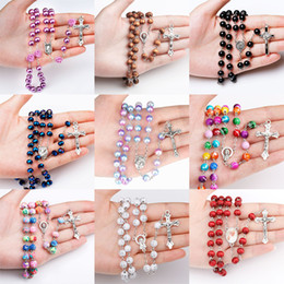 $enCountryForm.capitalKeyWord Australia - 9 styles Religious Catholic Rainbow Rosary Necklaces Jesus Virgin Mary cross Long pendant Beads chains For women Men Christian Jewelry Bulk