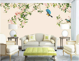 Chinese  3d wallpaper custom photo HD flower and bird modern Chinese background wall painting wallpaper for walls 3 d wall art canvas pictures manufacturers