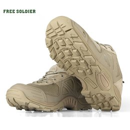Camp Shoes For Men Australia - FREE SOLDIER Outdoor Tactical Sport Men's Shoes For Camping Climbing Men Hiking Boots Mountain Non-slip Ultra-light Shoes #4405