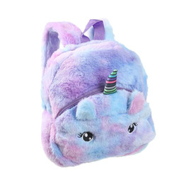 children soft toys 2020 - Kid Soft Unicorn Plush Bag Girl Mini Faux Fur Unicorn Backpack Cute Children Zipper Schoolbag Toy Doll Backpack For Kide