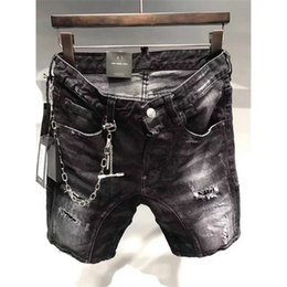 Rip Chains Australia - chain design Summer Men Ripped Biker Jeans Shorts Moto Denim Shorts For Male Multi Big Pockets Brand Designer Plus Size 44-54