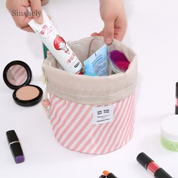 wholesale round cosmetic bag Australia - Round Drawstring Cosmetic Bag Women Travel Accessories Makeup Case Ladies Organizer Toiletry Storage