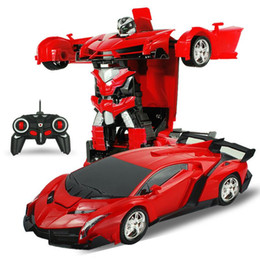 Wholesale Damage Refund 2In1 RC Car Sports Car Transformation Robots Models Remote Control Deformation RC fighting toy Children's GiFT10