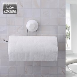 bathroom accessories toilet roll holder NZ - SQ1960 Suction Cup Toilet Paper Holder Bathroom Accessories No-Screw Kitchen Towel Rack Tissue Roll Holder Towel