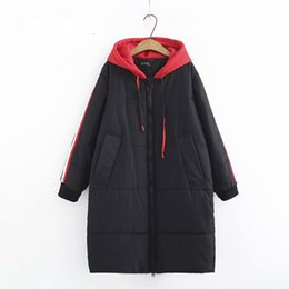 loose parka UK - Red Hooded Parka Coat for Women Plus Size Loose Warm Thick Casual Winter Parkas Black Outerwear