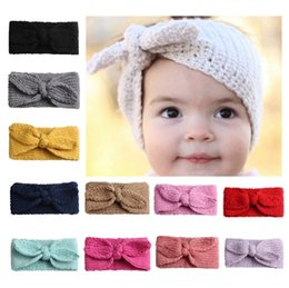 baby knitted headbands NZ - Knitted Headband Kids Girl Rabbit Ear Hairbands Solid Color Knot Turban Baby Headwrap Ear Warmer Hair Accessories 12 Colors DW4791