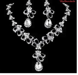 $enCountryForm.capitalKeyWord Australia - more color wedding bride diamond crystal 925 silver lady's necklace earrings set 20ty