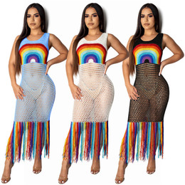 sheer clothing free NZ - Women sexy midi dresses colorful mesh sheer hollow out tassel sleeveless dresses summer clothing fashion beach dress free shipping 655