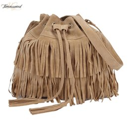 large christmas string lights UK - Womens Messenger Across Bags Large Capacity Messenger Bags Fringed Bucket Purse Tassel Faux Suede Shoulder Bag
