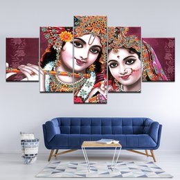 $enCountryForm.capitalKeyWord Canada - Pictures Modular Poster HD Printing 5 Pieces India God Radha Krishna Canvas Painting Modern Living Room Wall Decor Art Framework