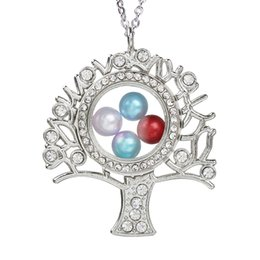 $enCountryForm.capitalKeyWord Australia - Silver Plated Tree of Life Magnetic Open Locket Pearl Cage Pendant Living Memory Jewelry Floating Women Necklace With Chain for DIY Making