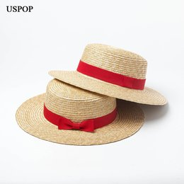 e90142ea7f827 USPOP 2019 new women natural straw hat wheat straw sun hat women summer flat  top red bow-knot beach